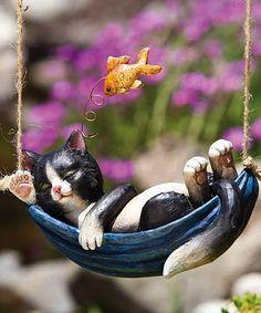 Another great find on #zulily! Day Dreaming Kitten Hanging Garden Décor #zulilyfinds