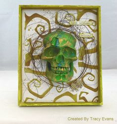 C46 - October 2016 - Destination Inspiration #2 - Tracy.  1. Product: Crackle Paste; 2. Technique: Layering colour through a stencil;  3. Colour: Green & Gold; 4. Substrate: Some kind of a box