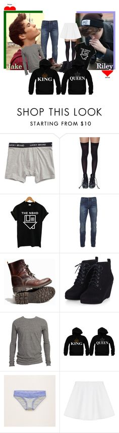 """""""King and Queen (My otp <3 )"""" by mikaela-madrid ❤ liked on Polyvore featuring Lucky Brand, Leg Avenue, Scotch & Soda, Golden Goose, Aerie, RED Valentino, men's fashion and menswear"""
