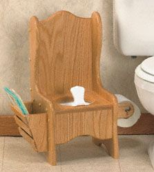Oak Potty Chair Woodworking Plan This classic project features a magazine rack and toilet paper holder. #diy #woodcraftpatterns
