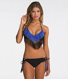 Bikini Lab Fringe Ferdinand Halter Bralette Top & Tie-Side Hipster Bottom- Ziftit