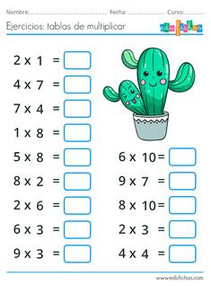 Free Printable Multiplication Worksheets, First Grade Math Worksheets, Math Multiplication, Worksheets For Kids, Math Games, Math Activities, Halloween Pumpkin Carving Stencils, School Frame, Math School
