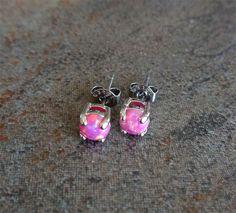 Fire Opal studs Earrings Pink Opal with 316L by Purityjewel, $19.99