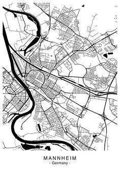 MANNHEIM Stadtplan digitale Dateien 5 verschiedene Größen