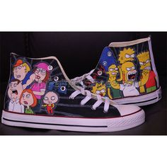 The Simpsons Converse All Star Men Women Painted Canvas Shoes, Hand Painted Shoes, Design Your Own Shoes, The Simpsons, Converse All Star, Chuck Taylor Sneakers, On Shoes, High Top Sneakers, Stars