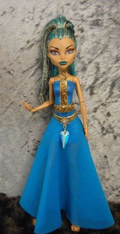 Three piece blue and gold dress  for monster high Adult bodied dolls on Etsy, $25.00