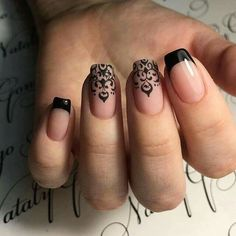 Black French nails                                                                                                                                                     More Nail Design, Nail Art, Nail Salon, Irvine, Newport Beach