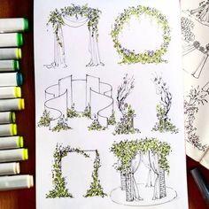 """151 Likes, 5 Comments - ЭСКИЗЫ ОФОРМЛЕНИЯ СВАДЕБ (@i0sikkayuda91) on Instagram: """"Столько вариантов интересных, даже и не знаю с чего начать . #эскизсвадьбы #свадьба #президиум…"""""""