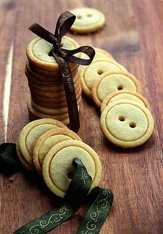 So cute!! Button Cookies - 2 sizes of biscuit cutters and a straw for the holes.