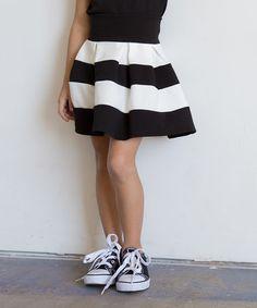 Another great find on #zulily! Black & Off-White Stripe Circle Skirt - Girls #zulilyfinds