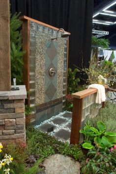 Holistic Retreat outdoor shower 2007 www.nwbloom.com - love all the textures and choice of materials