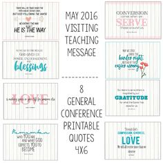 May 2016 Visiting Teaching Message- General Conference 4x6 printables by Mimileeprintables on Etsy  #may2016 #visitingteaching #lds #reliefsociety #generalconference #printables #mimileeprintables #4x6 #henrybeyring #thomassmonson #mayvisitingteachingmessage