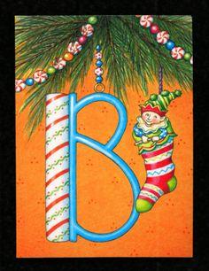 SET-6-MARY-ENGELBREIT-Notecards-Monogram-Initial-Letter-B-Christmas-Card-NEW