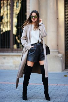 Overknee boots and leather shorts