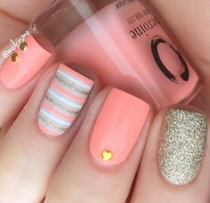 Pastel peach nail polish - peach please heroine.nyc summer c Summer Acrylic Nails, Best Acrylic Nails, Acrylic Nail Designs, Cool Nail Designs, Cute Summer Nail Designs, Summer Nails, Striped Nail Designs, Gel Polish Designs, Acrylic Set