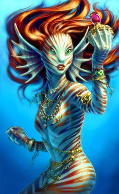 Sirena; pelo pelirrojo, liso; piel blanca y rayas naranja; ojos verdes.
