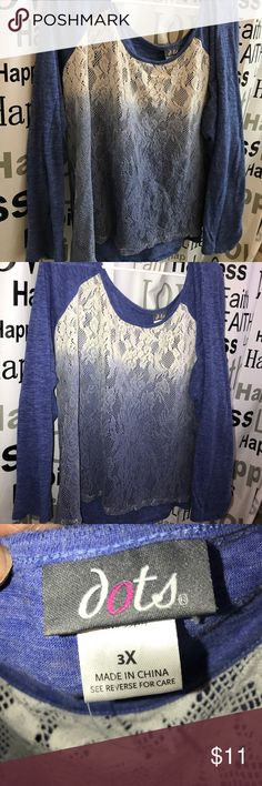 Cream and blue shirt 3x Gently used l..Nice long sweat cotton/lace shirt! Goes well with jeans or leggings! Tops