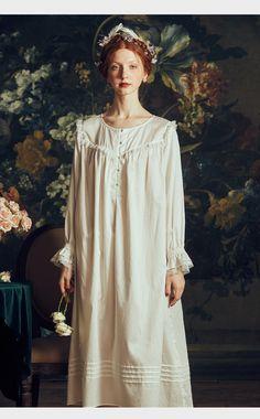 52ce884515a3e2 Donne Nightgows Retrò Elegante Vestito Degli Indumenti Da Notte Camicia Da  Notte Della Signora Vintage Gentlewoman