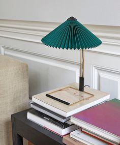 Add a graceful touch to your side table with the small Matin Table Lamp by Inga Sempé for Danish furniture brand, Hay.The lamp is composed of steel wire and polished brass finished with a pleated cotton shade. It emanates a diffused downward light which c Deco Led, Hay Design, Outdoor Furniture Design, Danish Furniture, Brass Table Lamps, Luminaire Design, Led Lampe, Furniture Collection, Interiors