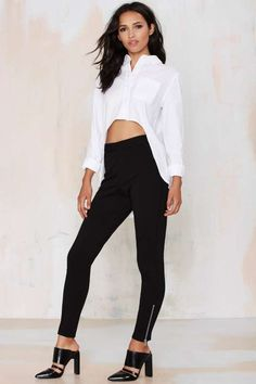 Nasty Gal Slim Pickin' Zip Trousers