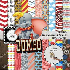 Dumbo Digital Paper Pack  30 Papers  12 by DigitalStudioDesigns