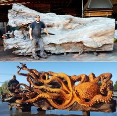 octopus carved from fallen redwood by jeffrey michael samudosky 18 Artist Transforms Fallen Redwood Into Giant Octopus (15 Photos)
