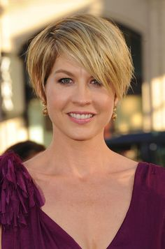A short tousled hair cut with bangs/ fringe:This looks a bit fuller and could be better for my square face. Jenna Elfman Hair