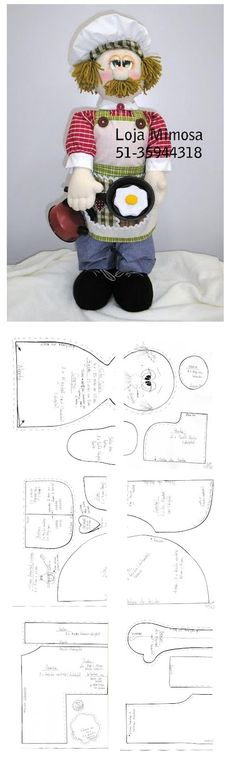 Templates For Fabric Crafts: Cook with mold Doll Patterns Free, Doll Clothes Patterns, Free Pattern, Fabric Toys, Fabric Gifts, Diy Toys Doll, Sewing Dolls, Boy Doll, Knitted Dolls