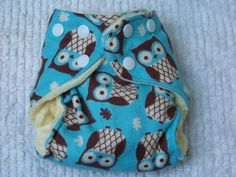 Owls and Snowflakes Newborn Cloth Diaper. $10.00, via Etsy.