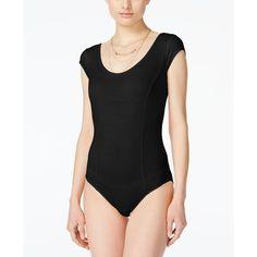 Marilyn Monroe Juniors' Short-Sleeve Bodysuit ($17) ❤ liked on Polyvore featuring intimates, shapewear and black