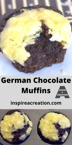 German Chocolate Muffins-Get it here. The topping really reminds me of a light version of german chocolate cake. And who doesn't love chocolate and coconut? Breakfast Bread Recipes, Easy Brunch Recipes, Snack Recipes, Muffin Recipes, Lchf, Keto, Yummy Treats, Yummy Food, Delicious Recipes