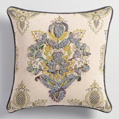 One of my favorite discoveries at WorldMarket.com: Embroidered Floral Octavia Throw Pillow