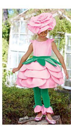 rose costume with pink dress green belt and leggings and buying or DIYing a flower headband.