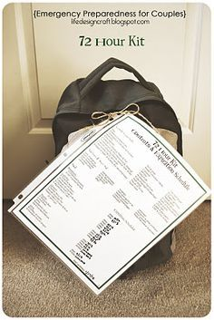 Emergency Preparedness for Couples... with limited storage and money! (includes ideas for 72 Hour Kit and 2 Week Supply, and free printables)