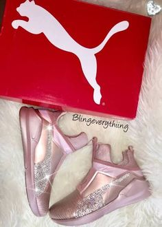Kylie Jenner Blinged Pumas - Rose Gold Puma Fierce w/ Swarovski Crystals | Kylie Jenner Puma Fierce S...