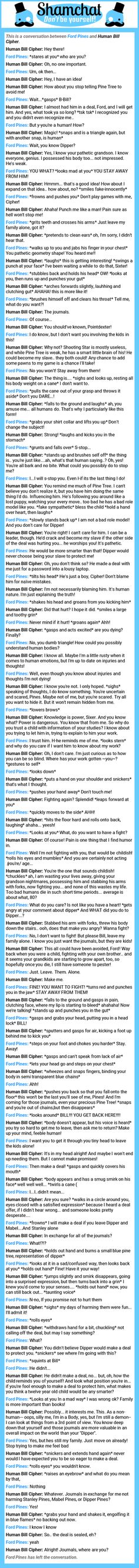 A conversation between Human Bill Cipher and Ford Pines