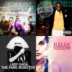 A playlist featuring Lady Gaga, Akon, Nelly Furtado, and others