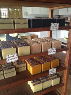 Our Organic Soap  http://poppysoap.com curing  on our antique pie racks.