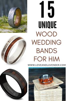 Wood wedding bands are fast becoming a popular choice for both men and women searching for a ring with a special twist. They bring an organic flavor to traditional wedding bands with various types of wood and materials found in nature. Check out these 15 Unique Wood Wedding Bands for Him! #wedding #groom #weddingbands #woodenbands Mens Wood Wedding Bands, Wedding Bands For Him, Wedding Groom, Wedding Planning Guide, Honeymoon Planning, Be My Groomsman, Groomsman Gifts, Different Engagement Rings, Meteorite Wedding Band