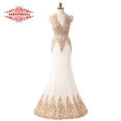Luxury Crystal Gold Lace Formal Evening Dresses 2016 Sexy Deep V-neck Bakcless Prom Gown lange avondjurken HarveyBridalJL1670703 >>> To view further for this item, visit the image link.