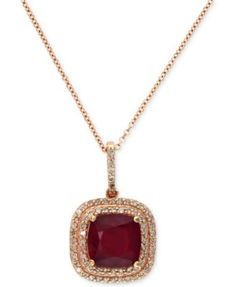 c35c4c7bbcc7 Rosa by EFFY Ruby (3-1 8 ct. t.w.) and Diamond (1 4 ct. t.w.) Drop Pendant  in 14k Rose Gold Jewelry   Watches - Necklaces - Macy s