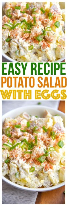 Quick and easy Potato Salad with Eggs Recipe is a great summer side dish for parties! Comfort food that is a family favorite for many! via @CourtneysSweets