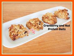 Cranberry and Nut Protein Balls. These yummy balls are just the treat for those looking for a delicious snack bursting with protein-y goodness. Yummy Snacks, Snack Recipes, Dessert Recipes, Yummy Food, Desserts, Healthy Protein Snacks, Quinoa Protein, Healthy Eating, Protein Ball