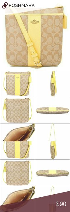 Coach Signature North South Crossbody Color are khaki/pale yellow. This is in FLAWLESS condition, was never used. Care card  included. Coach Bags Crossbody Bags