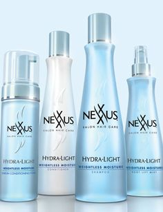 The new Hydra-Light collection from Nexxus Salon Hair Care features a shampoo, conditioner, Root Lift Mist and Leave-In Conditioning Foam ($9.99-$14.99), all designed to moisturize hair without weighing it down. The silicone-free products include deep sea minerals, antioxidants and nutrients to nourish hair.