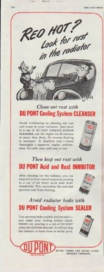 """Description: 1948 DU PONT vintage print advertisement """"Red Hot?""""-- Red Hot? Look for rust in the radiator ... Clean out rust with Du Pont Cooling System Cleanser ... Better Things For Better Living ... Through Chemistry -- Size: The dimensions of the half-page advertisement are approximately 5.5 inches x 13.5 inches (14cm x 34cm). Condition: This original vintage advertisement is in Very Good Condition unless otherwise noted ()."""