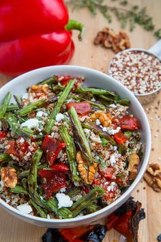 Roasted Green Bean Red Pepper Quinoa Salad #vegetarian #glutenfree