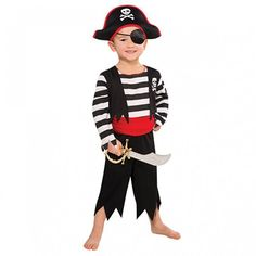 Forever Young Boys Capitan Pirata Costume Bambina Bambina Bambino Buccaneer Fancy Dress Caribbean Pirate 3-4 Anni