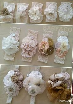 "diy_crafts- ""Very pretty headbands to"", ""Lace and flower headband"", ""Discover thousands of images about Bows"", ""This post was discovere Diy Headband, Baby Girl Headbands, Baby Bows, Rosette Headband, Lace Flowers, Felt Flowers, Fabric Flowers, Fabric Rosette, Ribbon Crafts"