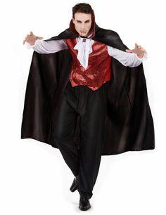 Déguisement vampire rouge homme Halloween : Ce déguisement de vampire pour homme comprend le gilet bordeaux avec fermeture boutons qui est intégré à la chemise blanche effet satin, la cape noire avec le col haut... Halloween Vampire, Halloween Kostüm, Fur, Satin, Tops, Dresses, Fashion, Skulls, Burgundy Cardigan